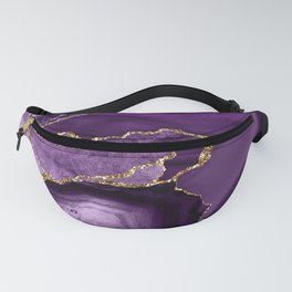 Glamour Purple Bohemian Watercolor Marble With Glitter Veins Fanny Pack