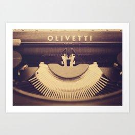 Vintage typewriter Olivetti, made in Italy Art Print