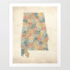 Alabama by County Art Print