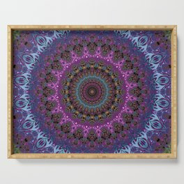 colorful fractal kaleidoscope Serving Tray