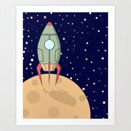 A retro rocket Art Print