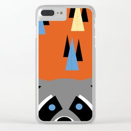 Orange Racoon Clear iPhone Case