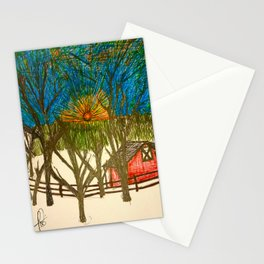 Front yard sunset Stationery Cards