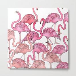 Flamingos Pattern White Metal Print