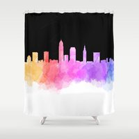 cleveland Shower Curtains featuring Cleveland Skyline by Emily Brady