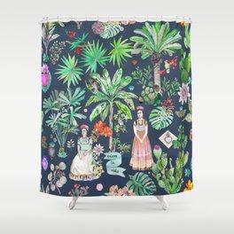 Frida Kahlo Botanics Carbon Grey Shower Curtain