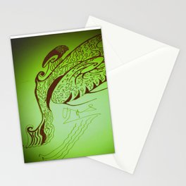 Encre sur une danse d'éventail Stationery Cards