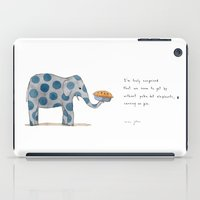 pie iPad Cases featuring polka dot elephants serving us pie by Marc Johns