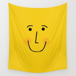 Smiley Face in Yellow Wall Tapestry