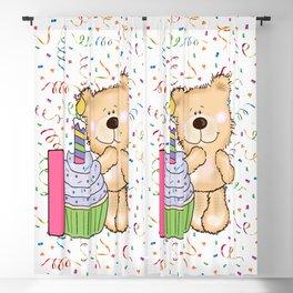 Happy Birthday Bear 1 year old Blackout Curtain