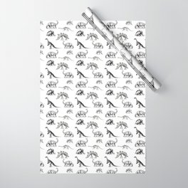 Museum Animals | Dinosaur Skeletons on White Wrapping Paper