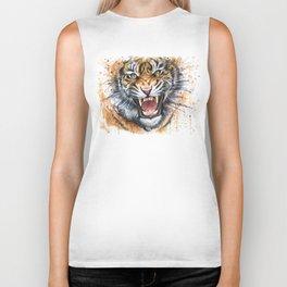 Tiger Roaring Wild Jungle Animal Biker Tank