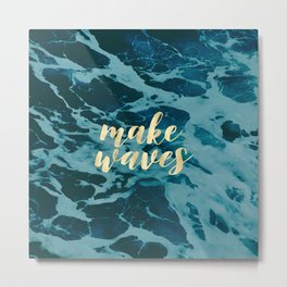 Make Waves in Gold Metal Print