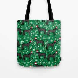 Horse Christmas - christmas, xmas, peppermint, candy cane, red and green, snowflake, holiday, horse Tote Bag