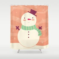 snowman Shower Curtains featuring Snowman by Claire Lordon