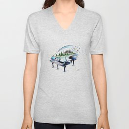 Piano with nature Unisex V-Neck