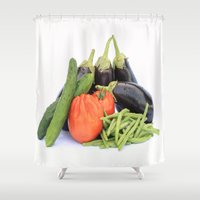 vegetables Shower Curtains featuring Vegetables together by Carlo Toffolo