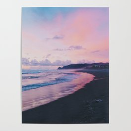 Pastel Waves on the Beach (Color) Poster