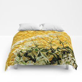 GOLDEN LACE FLOWERS FROM SOCIETY6 BY SHARLESART. Comforters