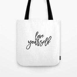 Justin Quote Justin Print Justin Song purpose album Song Lyrics Typographic Print Love Yourself Gift Tote Bag