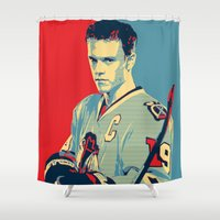 blackhawks Shower Curtains featuring Towes One Goal by Thousand Lines Ink