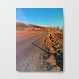 Winter road into the mountains | landscape photography Metal Print