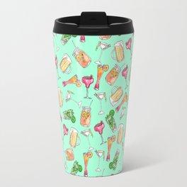 Fun Summer Watercolor Painted Mixed Drinks Pattern Travel Mug