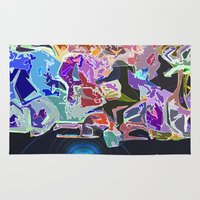 skateboard Area & Throw Rugs featuring Skateboard across the Universe  by Lior Blum