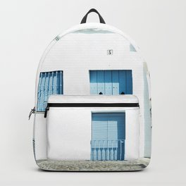 White and blue town Backpack