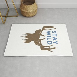 Stay Wild with deer in forest on mountains - Funny hand drawn quotes illustration. Funny humor. Life sayings. Sarcastic funny quotes. Rug