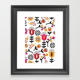 Retro Scandinavian Flowers Pattern Framed Art Print