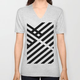 BLACK AND WHITE INTERSECTION PATTERN Unisex V-Neck