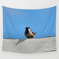 sparrow Wall Tapestries featuring Sparrow Guy by IowaShots
