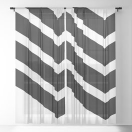 Black Chevron Sheer Curtain