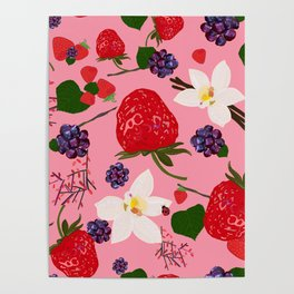 Strawberry, Blackberry and Vanilla Flower. Red Berries Pattern Poster