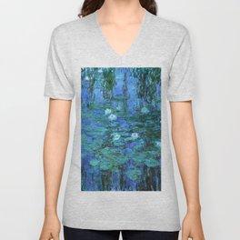 Claude Monet Water Lilies BLUE Unisex V-Neck