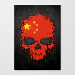 Flag of China on a Chaotic Splatter Skull Canvas Print