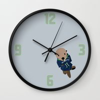 seahawks Wall Clocks featuring The Littlest Seahawks Fan by Carrie Ambo