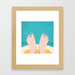 Feet on Beach Framed Art Print