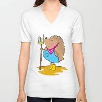 farm V-neck T-shirts featuring Farm life by mangulica illustrations