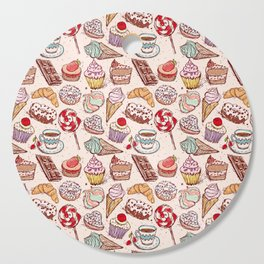 Hand drawn confectionery croissant Cupcake candy ice cream cake donut and coffee Cutting Board