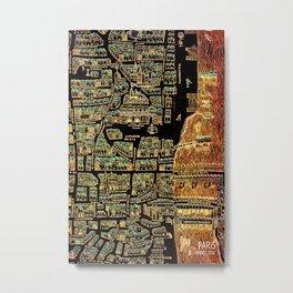 Paris old map year 1550 Metal Print