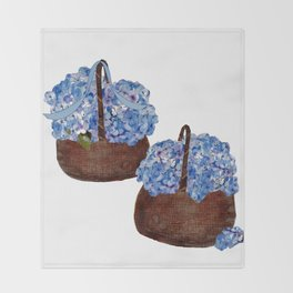 Two Baskets of Hydrangea Love Throw Blanket