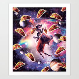Cowboy Space Cat On Goat Unicorn - Taco Art Print