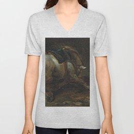 "Circle of Théodore Géricault ""A grey charger"" Unisex V-Neck"