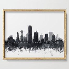 Dallas Skyline Black White Watercolor by Zouzounio Art Serving Tray