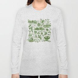 "Zelda ""Hero of Time"" Toile Pattern - Kokiri's Emerald Long Sleeve T-shirt"