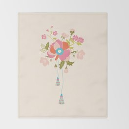 Peony Bouquet Throw Blanket