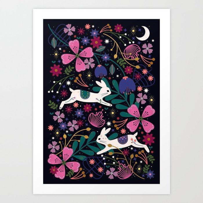 Rabbits in Flight Art Print