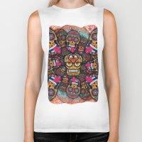 sugar skulls Biker Tanks featuring Crazy Sugar Skulls by Spooky Dooky